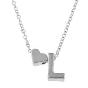 Jewelry - Silver/Gold Heart & L Initial Necklace